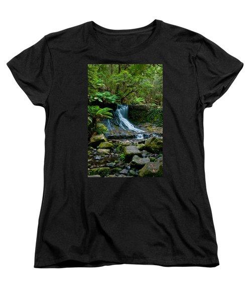 Waterfall In Deep Forest Women's T-Shirt (Standard Cut) by Ulrich Schade