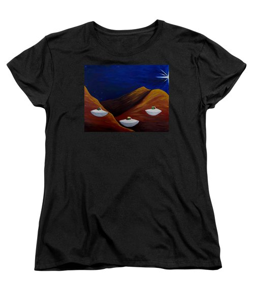 Women's T-Shirt (Standard Cut) featuring the painting 3 Wise Guys by Lola Connelly