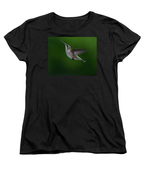 Female Ruby Throated Hummingbird Women's T-Shirt (Standard Cut) by Brenda Jacobs