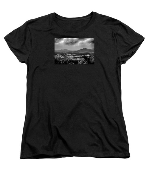 Roanoke City As Seen From Mill Mountain Star At Dusk In Virginia Women's T-Shirt (Standard Cut) by Alex Grichenko