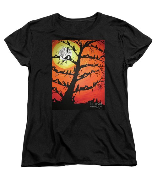 60 Cats In The Love Tree Women's T-Shirt (Standard Cut) by Jeffrey Koss
