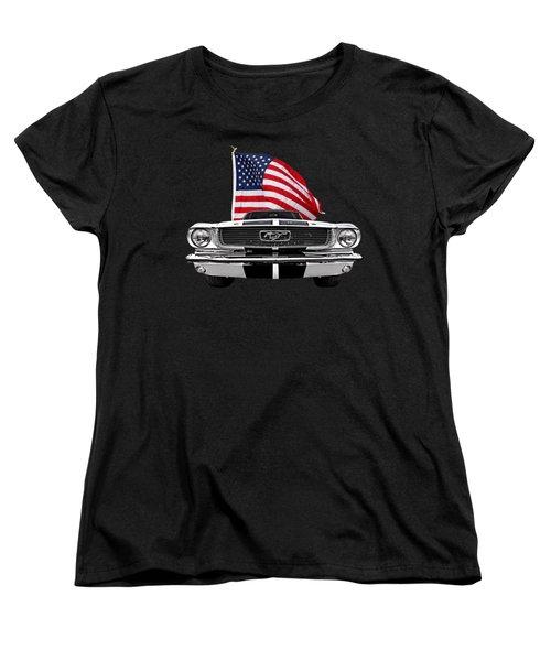 66 Mustang With U.s. Flag On Black Women's T-Shirt (Standard Cut) by Gill Billington