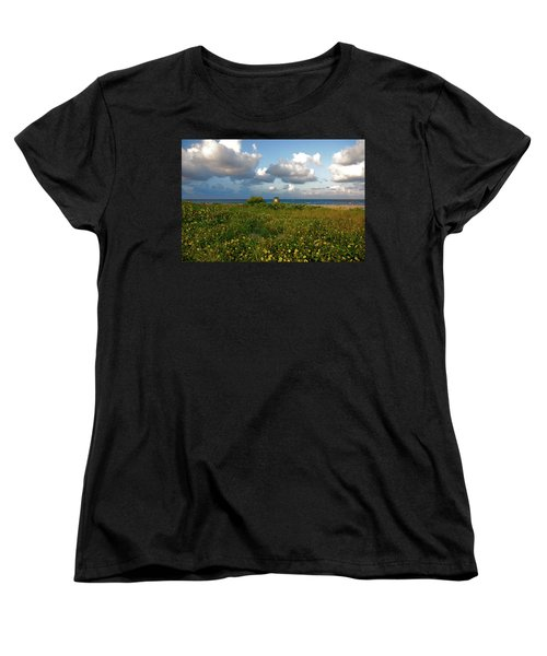 Women's T-Shirt (Standard Cut) featuring the photograph 8- Sunflowers In Paradise by Joseph Keane