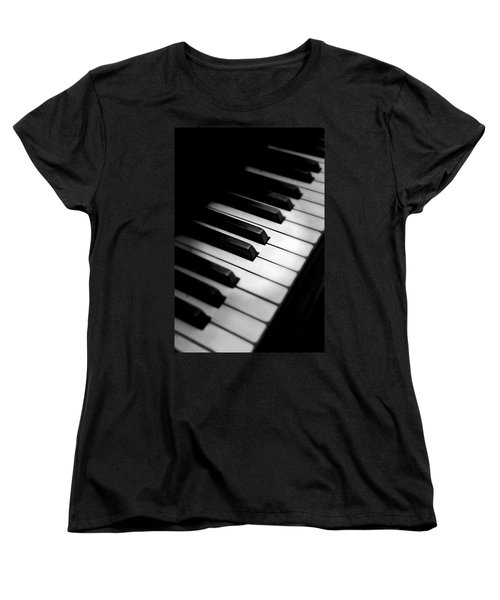 Black And White Women's T-Shirt (Standard Cut) featuring the photograph 88 Keys To The Heart by Aaron Berg