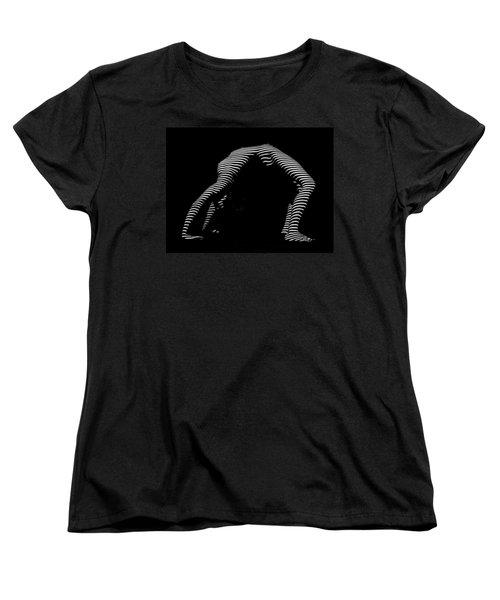 9454-dja Back Bend Yoga Zebra Girl Striped Curves Black White Photograph By Chris Maher Women's T-Shirt (Standard Cut) by Chris Maher