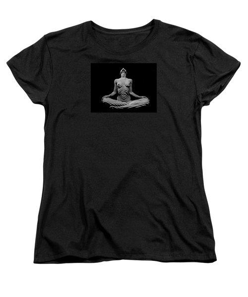 9934-dja Lotus Position In Zebra Stripes  Women's T-Shirt (Standard Cut) by Chris Maher