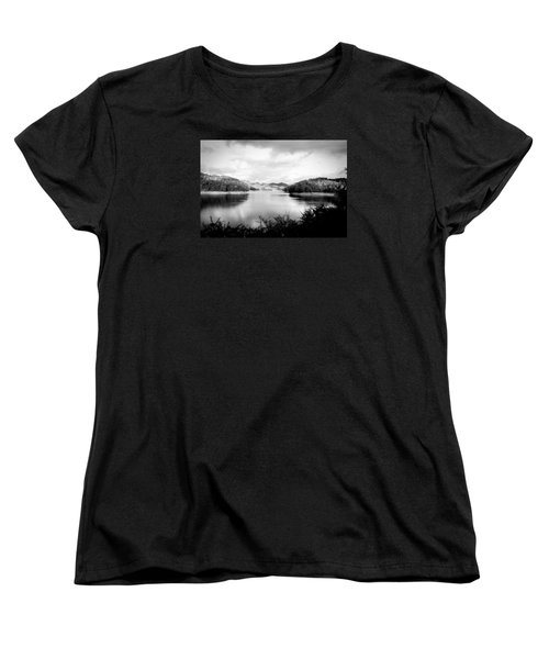 A Black And White Landscape On The Nantahala River Women's T-Shirt (Standard Cut) by Kelly Hazel
