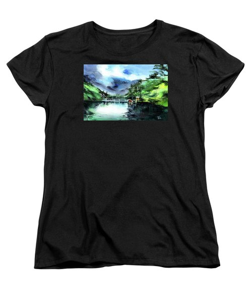 Women's T-Shirt (Standard Cut) featuring the painting A Bridge Not Too Far by Anil Nene