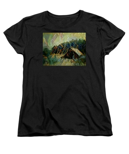 Women's T-Shirt (Standard Cut) featuring the painting A Chance In The World Movie Dark Barn Crowded Into A Gully Between A Large Rocky Hill And A Grove Of by Mendyz