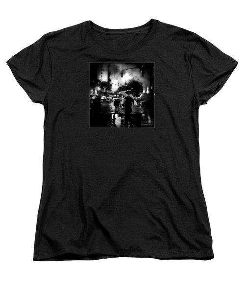 A Foggy Night In New York Town - Checkered Umbrella Women's T-Shirt (Standard Cut) by Miriam Danar