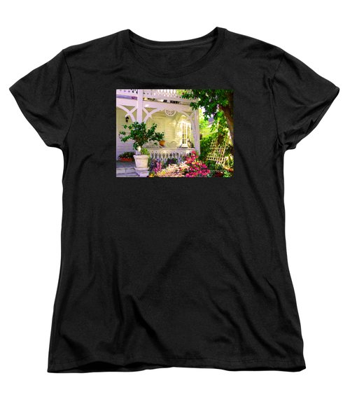Women's T-Shirt (Standard Cut) featuring the painting A Key West Porch by David  Van Hulst