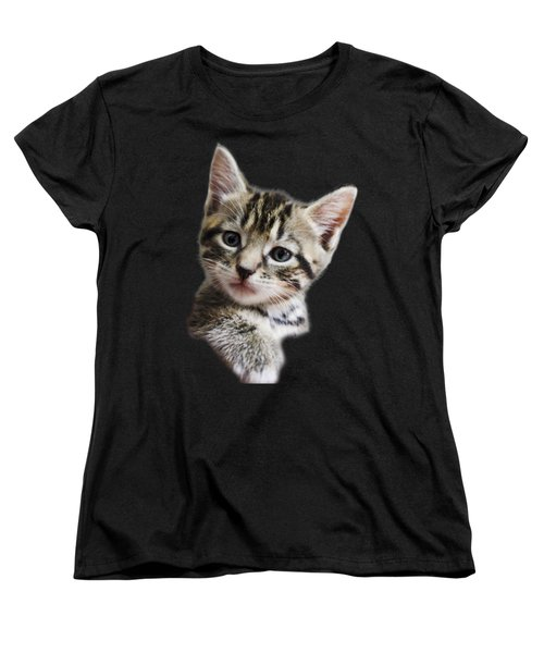 A Kittens Helping Hand On A Transparent Background Women's T-Shirt (Standard Cut) by Terri Waters