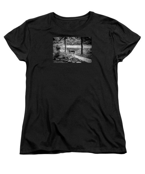 Women's T-Shirt (Standard Cut) featuring the photograph A Lone Bench By The Nantahala River by Kelly Hazel