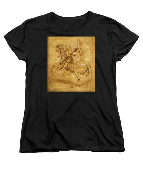 Women's T-Shirt (Standard Cut) featuring the painting A Man Riding A Horse by Anthony van Dyck