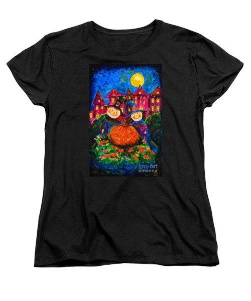 A Merry Halloween Women's T-Shirt (Standard Cut) by Zaira Dzhaubaeva