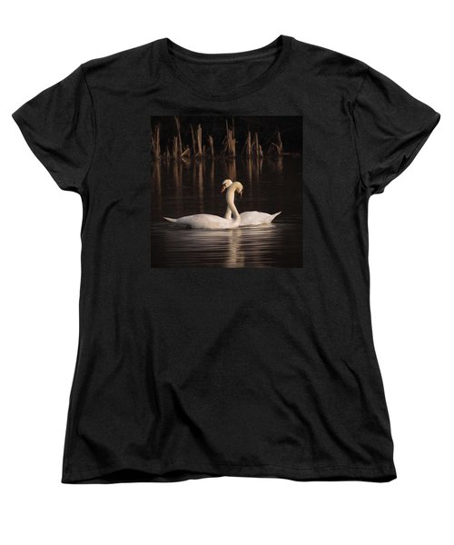 A Painting Of A Pair Of Mute Swans Women's T-Shirt (Standard Cut) by John Edwards
