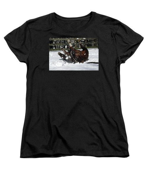 A Roll In The Snow Women's T-Shirt (Standard Cut) by Nicki McManus