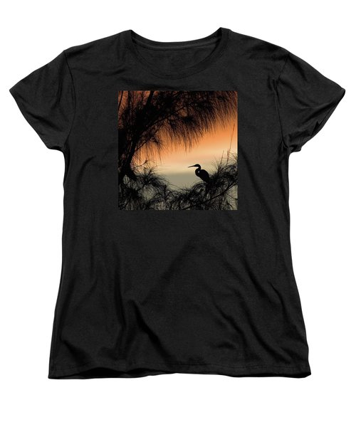 A Snowy Egret (egretta Thula) Settling Women's T-Shirt (Standard Cut) by John Edwards