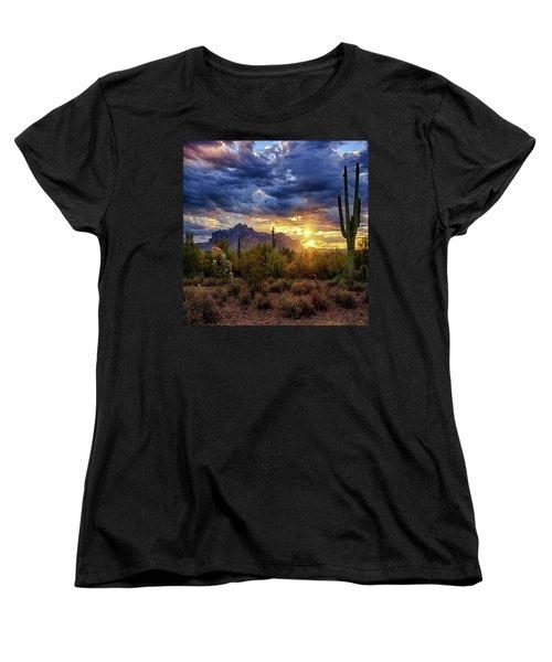 Women's T-Shirt (Standard Cut) featuring the photograph A Sonoran Desert Sunrise - Square by Saija Lehtonen