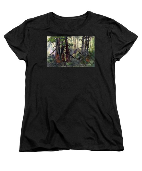 Women's T-Shirt (Standard Cut) featuring the painting A Walk In The Woods by Sherry Shipley