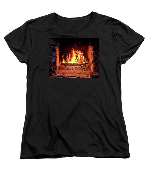 A Warm Hearth Women's T-Shirt (Standard Cut) by Christopher Holmes