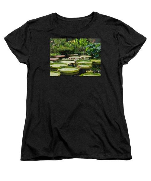 Women's T-Shirt (Standard Cut) featuring the photograph A Water Garden by Byron Varvarigos