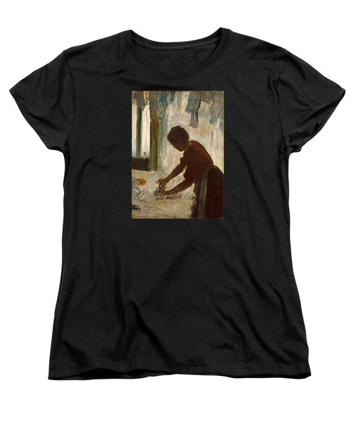Women's T-Shirt (Standard Cut) featuring the painting A Woman Ironing by Edgar Degas