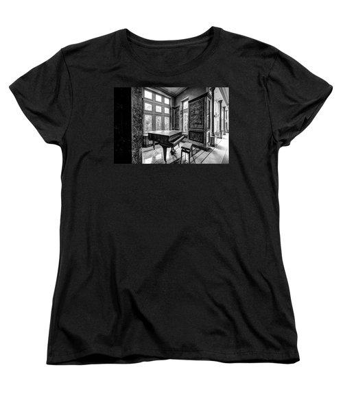 Abandoned Piano Monochroom- Urban Exploration Women's T-Shirt (Standard Cut) by Dirk Ercken