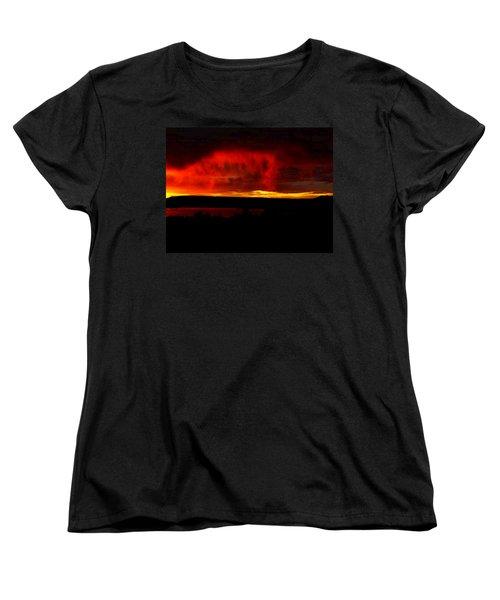 Women's T-Shirt (Standard Cut) featuring the painting Abiquiu Reservoir  by Dennis Ciscel