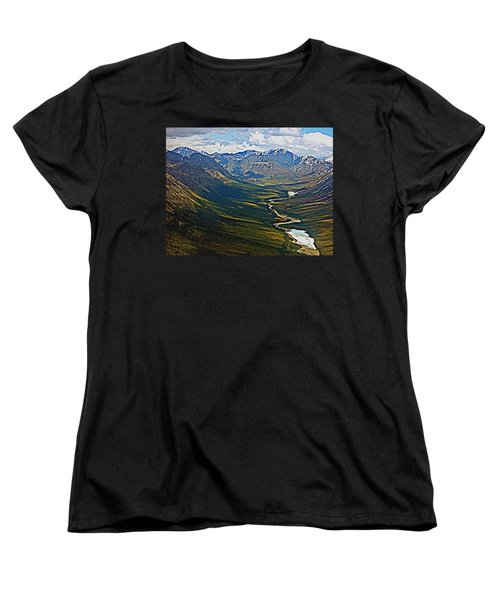 Women's T-Shirt (Standard Cut) featuring the painting Above The Arctic Circle by John Haldane