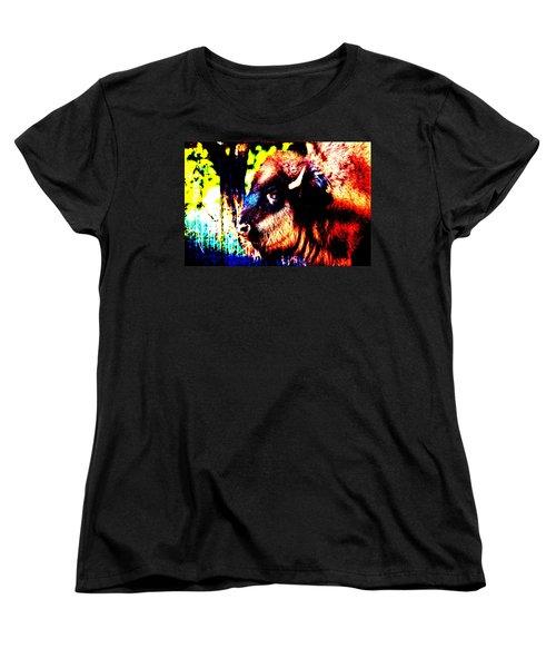 Abstract Buffalo Women's T-Shirt (Standard Cut) by Lon Casler Bixby