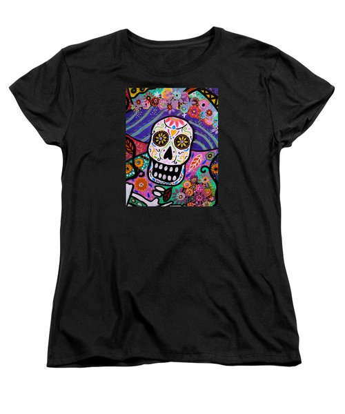 Women's T-Shirt (Standard Cut) featuring the painting Abstract Catrina by Pristine Cartera Turkus