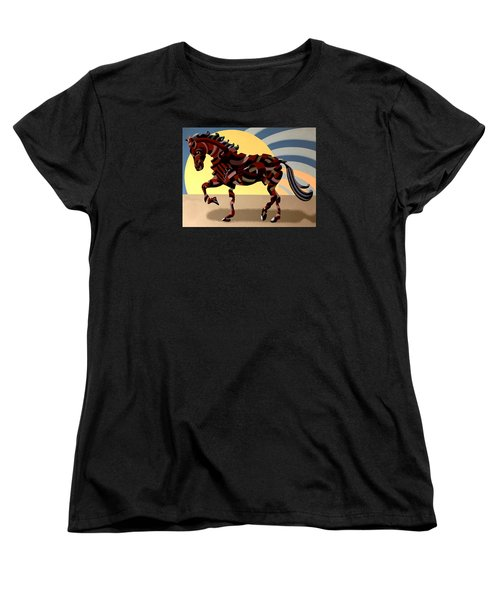 Women's T-Shirt (Standard Cut) featuring the painting Abstract Geometric Futurist Horse by Mark Webster