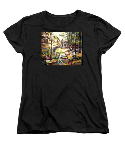 Women's T-Shirt (Standard Cut) featuring the drawing Abstract Landscape With People by Stan Esson