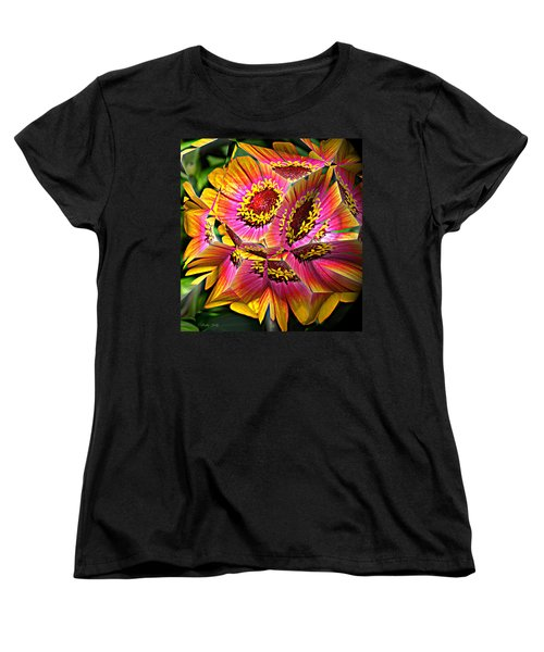 Abstract Yellow Flame Zinnia Women's T-Shirt (Standard Cut) by Kathy Kelly