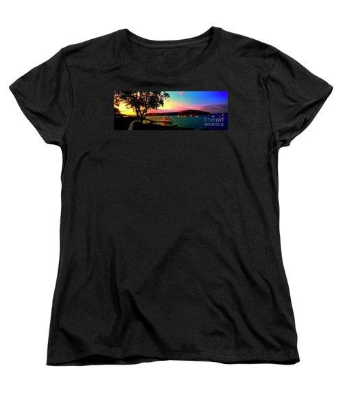 Women's T-Shirt (Standard Cut) featuring the photograph  Acadia Bar Harbor Sunset Cruises by Tom Jelen