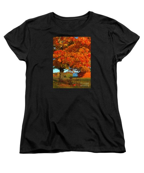 Women's T-Shirt (Standard Cut) featuring the painting Adirondack Autumn Color Brush by Diane E Berry