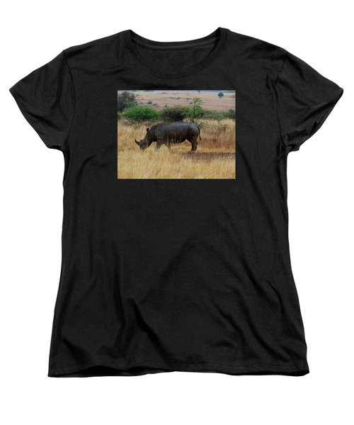African Animals On Safari - One Very Rare White Rhinoceros Right Angle With Background Women's T-Shirt (Standard Fit)