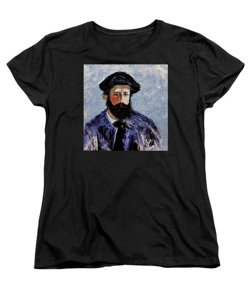 After Monet-self Portrait With A Beret  Women's T-Shirt (Standard Cut) by Cristina Mihailescu