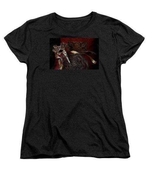 After The Ball - Venetian Mask Women's T-Shirt (Standard Cut) by Yvonne Wright