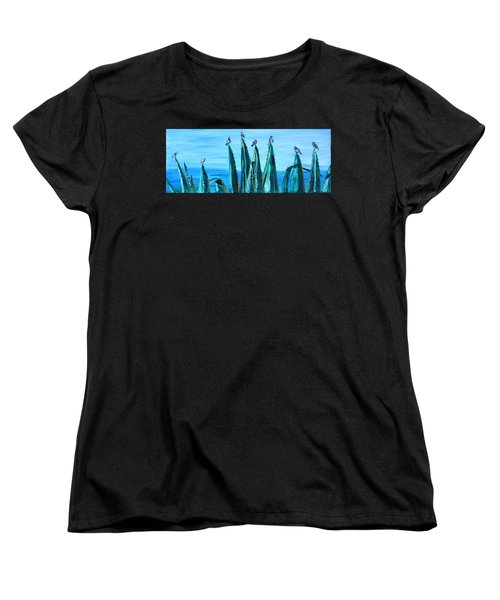 Agave With Sparrows Women's T-Shirt (Standard Cut) by Valerie Ornstein