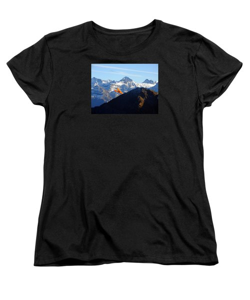 Airplane In Front Of The Alps Women's T-Shirt (Standard Cut) by Ernst Dittmar