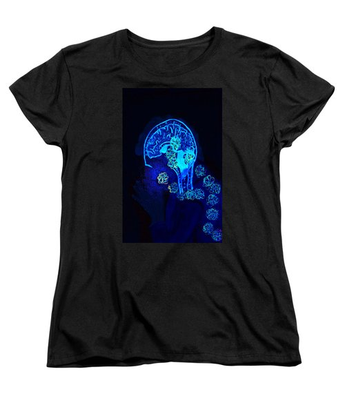 Women's T-Shirt (Standard Cut) featuring the painting Al In The Mind Black Light View by Lisa Brandel