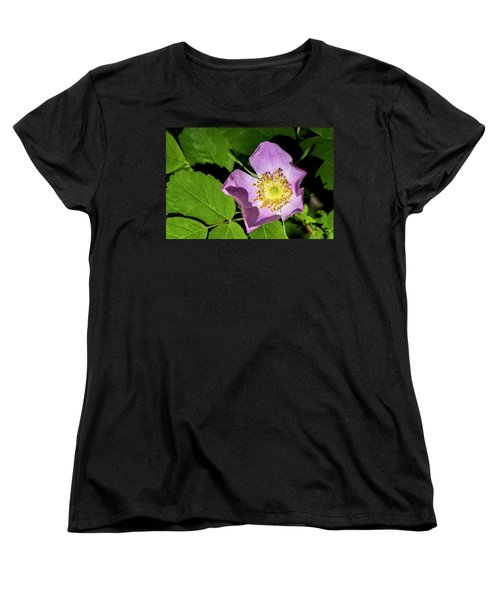 Women's T-Shirt (Standard Cut) featuring the photograph Alberta Wild Rose Opens For Early Sun by Darcy Michaelchuk