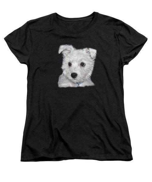 Alert Puppy On A Transparent Background Women's T-Shirt (Standard Cut) by Terri Waters