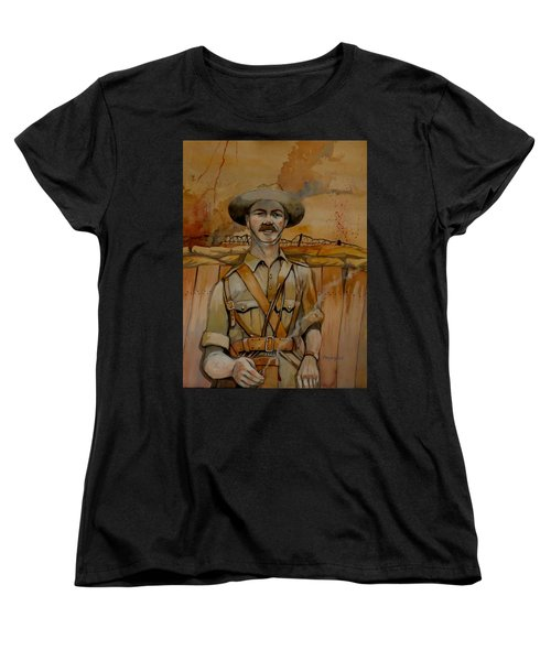 Women's T-Shirt (Standard Cut) featuring the painting Alfred Shout Vc by Ray Agius