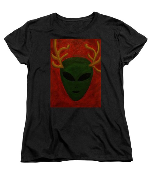 Women's T-Shirt (Standard Cut) featuring the painting Alien Deer by Lola Connelly