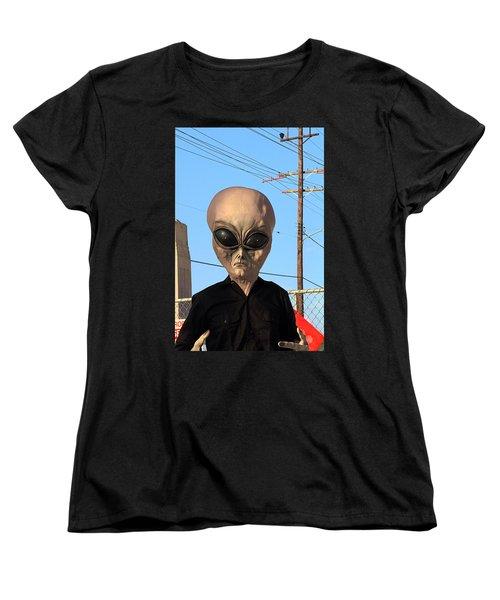 Women's T-Shirt (Standard Cut) featuring the photograph Alien Face At 6th Street Bridge by Viktor Savchenko