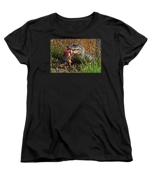 Alligator Eating A Fish Women's T-Shirt (Standard Cut)