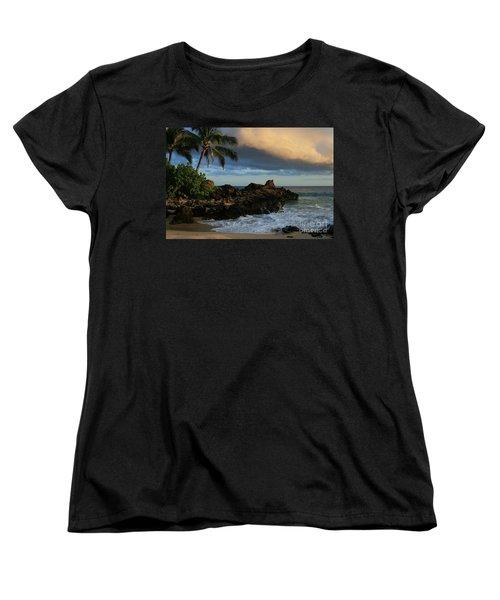 Aloha Naau Sunset Paako Beach Honuaula Makena Maui Hawaii Women's T-Shirt (Standard Cut) by Sharon Mau